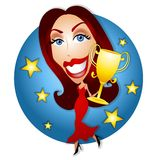 Beauty Pageant Trophy Winner. An illustration featuring a cartoonish looking woman with dark hair in red gown prancing along with her gold trophy having just won Royalty Free Stock Photo