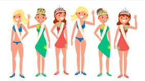 Beauty Pageant Vector. Woman On Beauty Pageant. Queen Smiling. Isolated Flat Cartoon Illustration Stock Illustration