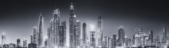 The beauty panorama of Dubai, black and white Royalty Free Stock Photography
