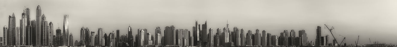 The beauty panorama of Dubai, black and white Royalty Free Stock Image