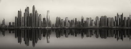 The beauty panorama of Dubai, black and white Stock Images