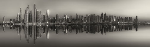 The beauty panorama of Dubai, black and white Stock Photos