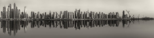 The beauty panorama of Dubai, black and white Stock Photography