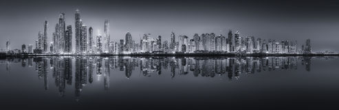 The beauty panorama of Dubai, black and white Royalty Free Stock Images