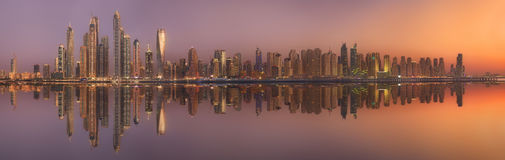 The beauty panorama of Dubai marina. UAE Royalty Free Stock Photo