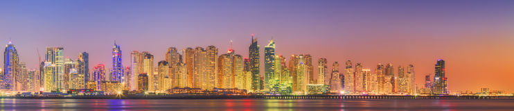 The beauty panorama of Dubai marina. UAE Royalty Free Stock Photography