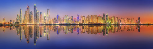 The beauty panorama of Dubai marina. UAE Stock Photo