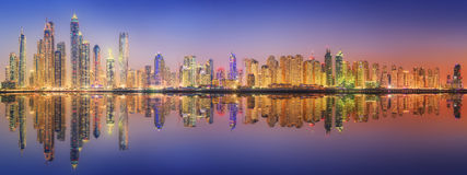 The beauty panorama of Dubai marina. UAE. The beauty panorama of skyscrapers in Dubai Marina. UAE Royalty Free Stock Photos