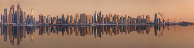 The beauty panorama of Dubai marina. UAE Royalty Free Stock Image