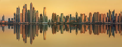 The beauty panorama of Dubai marina. UAE royalty free stock photo