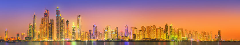 The beauty panorama of Dubai marina. UAE Royalty Free Stock Images