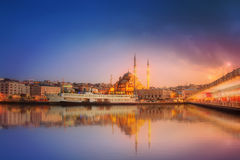 The beauty panorama of Istanbul at a dramatic sunset royalty free stock photo