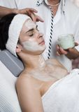 Beauty parlour 4. Relaxing in the beauty parlour. Face massage Stock Images