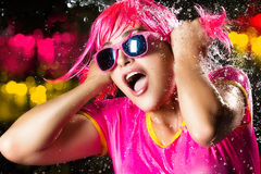 Beauty Party Girl. Water Splash. Portrait of beauty party girl with water splashes expressing happiness Stock Photography
