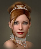Beauty with Pearls, 3d CG Royalty Free Stock Photo