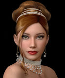 Beauty with Pearls, 3d CG Royalty Free Stock Images