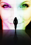 Beauty Perception Concept. Illustration with a silhouette of a woman looking at another pretty womans face on a screen Royalty Free Stock Image