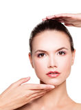 Beauty. Perfect Face Clear Skin. Healthy Woman Royalty Free Stock Images