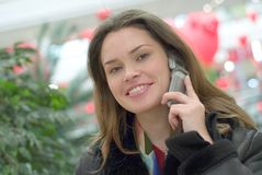 Beauty on the phone Royalty Free Stock Images