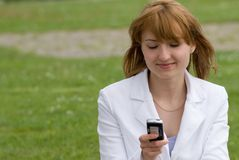 Beauty and the phone stock image