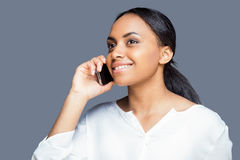 Beauty on the phone. Royalty Free Stock Images