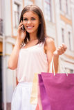 Beauty on the phone. Royalty Free Stock Image