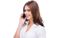 Beauty on the phone. Stock Photography