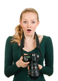 Beauty photographer reviewing bad shot Royalty Free Stock Image