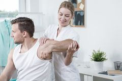Beauty physiotherapist at work royalty free stock photos