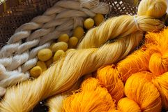 The beauty of Pile of colorful silk thread. royalty free stock photography