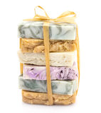 Beauty pile of handmade soap on white stock images