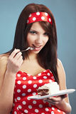 Beauty pin-up girl with the cake Stock Image