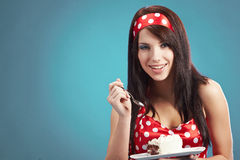Beauty pin-up girl with the cake Royalty Free Stock Images
