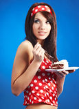 Beauty pin-up girl with the cake Royalty Free Stock Photo
