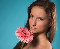 Beauty with pink flower Stock Images