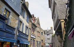 Mont Saint Michele, buildings street view - France, Normandy. Beauty place Mont Saint Michele in Normandy, France. Buildings seen from the narrow streets stock photography