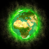 Beauty of planet Earth - Europe Africa and Asia. Computer generated 3D illustration of planet Earth on black background. Theme of nature, ecology, spirituality Stock Photos