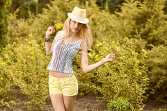 Beauty playful woman relax, garden, people outdoor Stock Photo