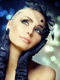 Beauty Portrait. Portrait of Beautiful Young Woman.Celebrating.Perfect make-up.Retro Style stock images