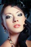 Beauty portrait. Stylized vintage romantic portrait of beautiful woman stock images
