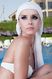 Beauty portrait. Beautiful Caucasian girl with a scarf on the Water Royalty Free Stock Photos