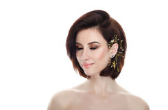 Beauty portrait of adult adorable fresh looking brunette woman with closed eyes gorgeous makeup diy headpiece bob hairdo posing ag Royalty Free Stock Photos