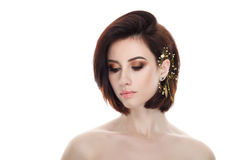Beauty portrait of adult adorable fresh looking brunette woman with closed eyes gorgeous makeup diy headpiece bob hairdo posing ag Royalty Free Stock Photography