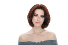 Beauty portrait of adult adorable fresh looking brunette woman with gorgeous makeup bob hairdo posing against isolated white backg Royalty Free Stock Images