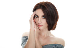 Beauty portrait of adult adorable fresh looking brunette woman with gorgeous makeup bob hairdo posing against isolated white backg. Beauty portrait of adult Stock Photos