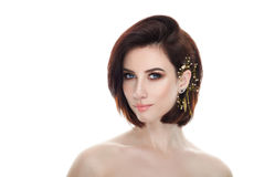 Beauty portrait of adult adorable fresh looking brunette woman with gorgeous makeup diy headpiece bob hairdo posing against isolat Stock Photos