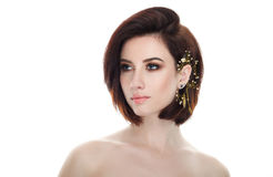 Beauty portrait of adult adorable fresh looking brunette woman with gorgeous makeup diy headpiece bob hairdo posing against isolat. Beauty portrait of adult stock image