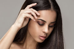 Beauty portrait of african glamour girl. stock photos