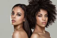 Beauty portrait of african natural girls. Beauty photo of two natural young african american girls. One girl with afro hairstyle Stock Photography