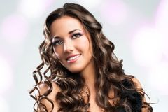 Beauty portrait of attractive brunette. Royalty Free Stock Photography